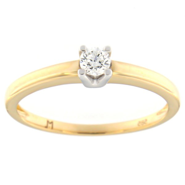 Kullast sõrmus teemantiga 0,14 ct. Kood: 50at