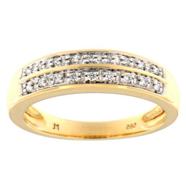 Kullast sõrmus teemantidega 0,08 ct. Kood: 51at
