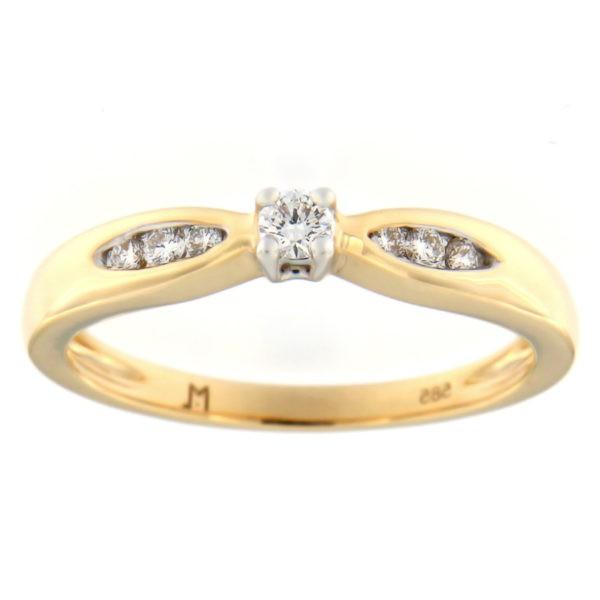 Kullast sõrmus teemantidega 0,15 ct. Kood: 52at