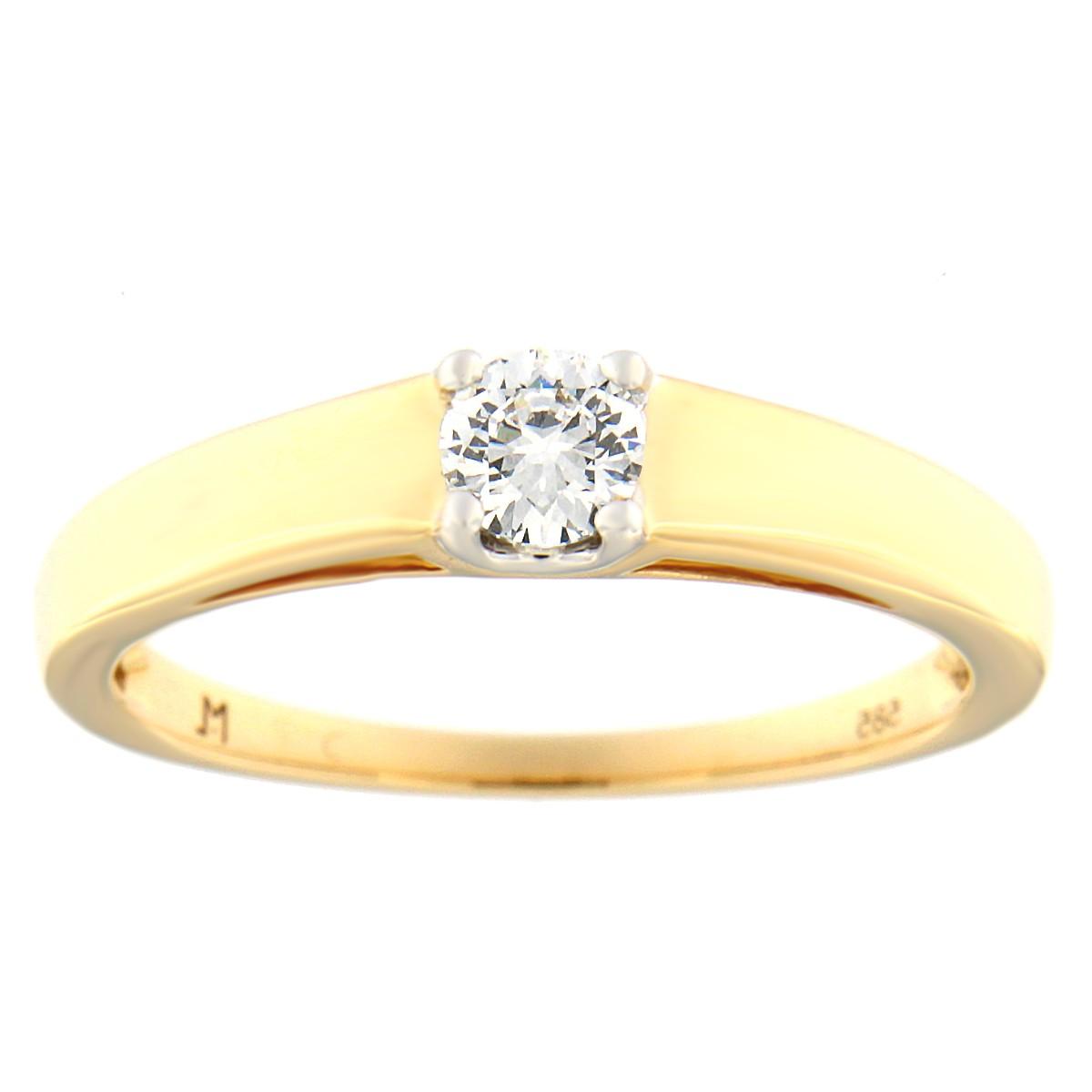 Kullast sõrmus teemantiga 0,24 ct. Kood: 54at