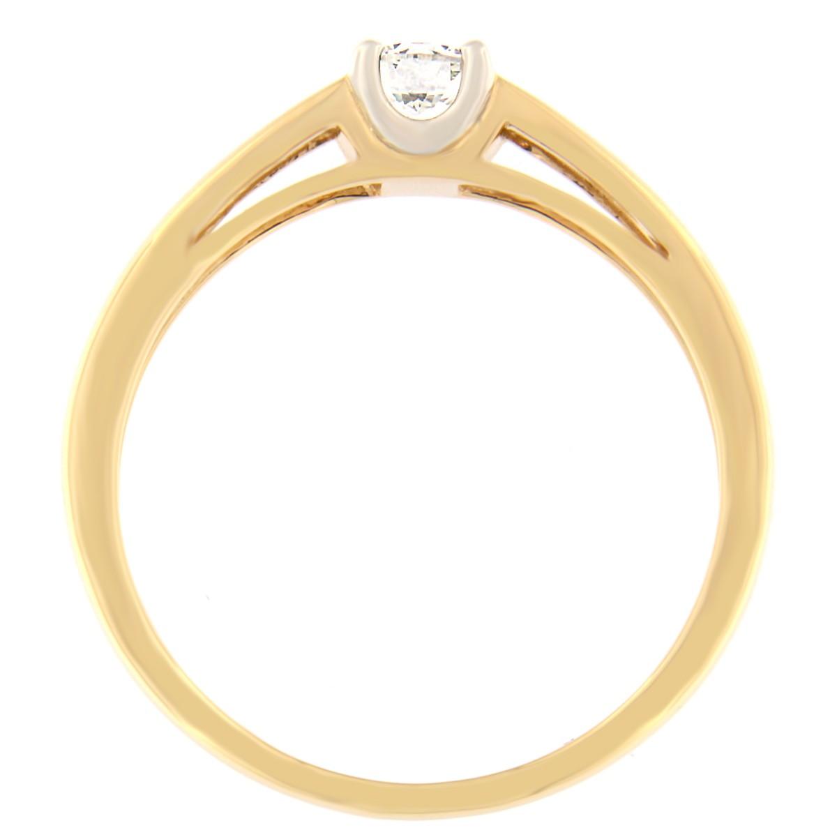 Kullast sõrmus teemantiga 0,24 ct. Kood: 54at külg