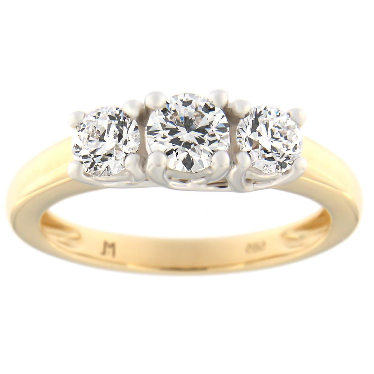 Kullast sõrmus teemantidega 1.01 ct. Kood: 59at