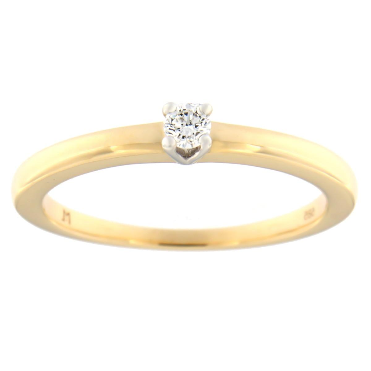 Kullast sõrmus teemantiga 0,10 ct. Kood: 67at