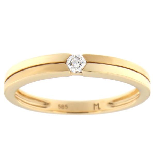 Kullast sõrmus teemantiga 0,07 ct. Kood: 71at