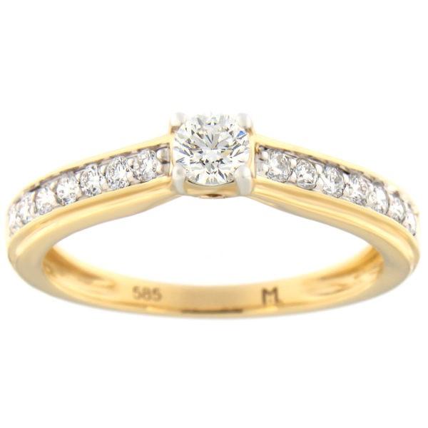 Kullast sõrmus teemantidega 0,49 ct. Kood: 74at