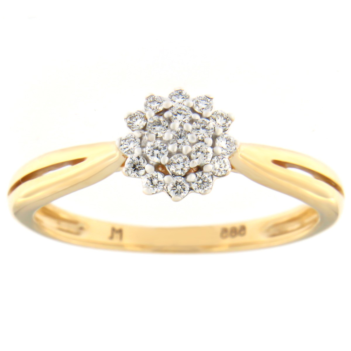 Kullast sõrmus teemantidega 0,15 ct. Kood: 77at