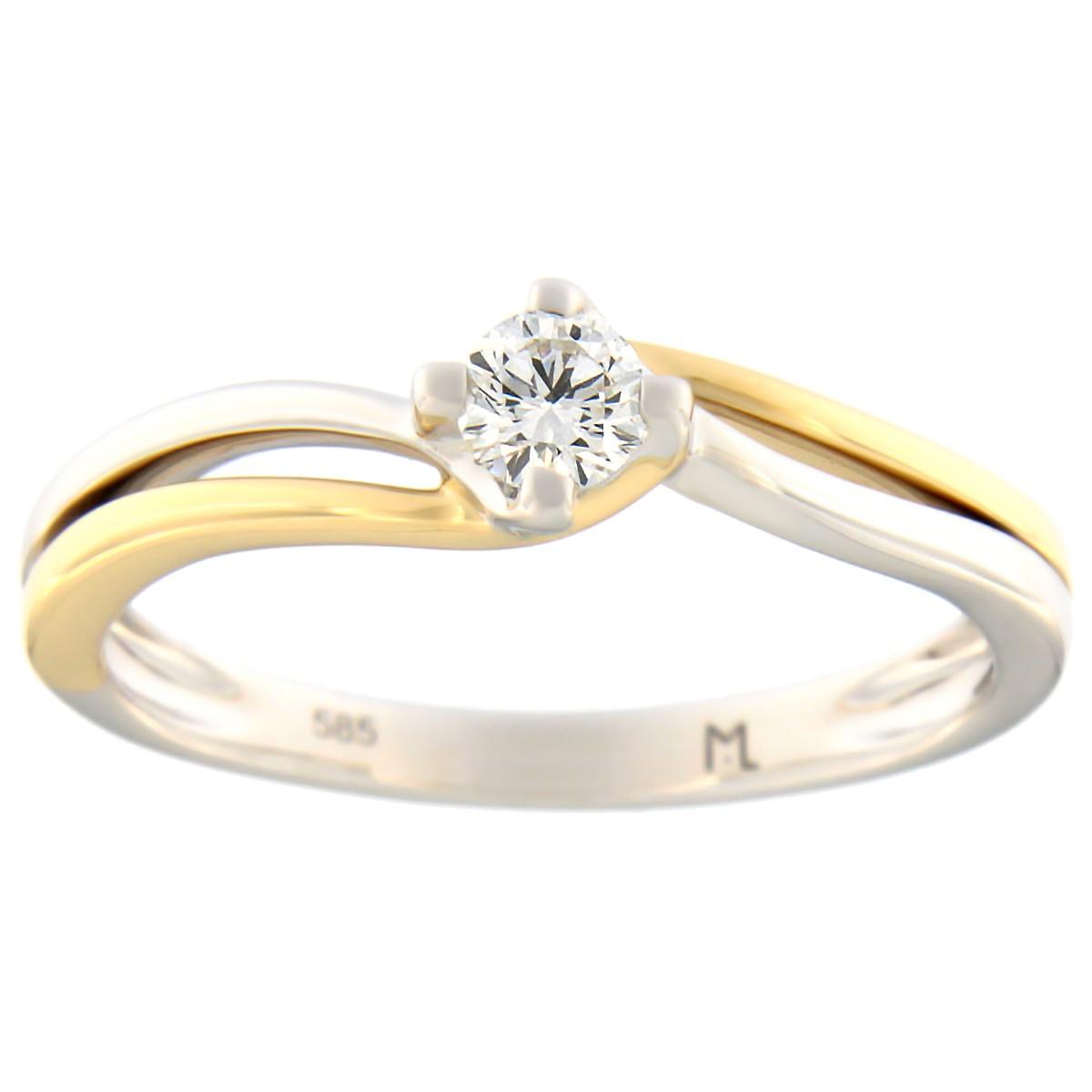 Kullast sõrmus teemantidega 0,16 ct. Kood: 78at