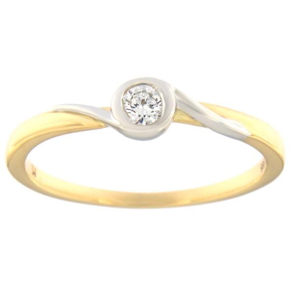 Kullast sõrmus teemantiga 0,10 ct. Kood: 83at
