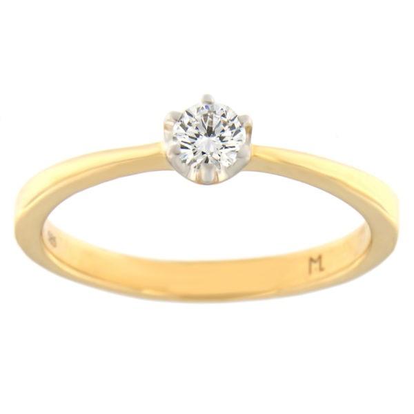 Kullast sõrmus teemantiga 0,20 ct. Kood: 84at