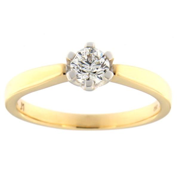 Kullast sõrmus teemantiga 0,38 ct. Kood: 85at