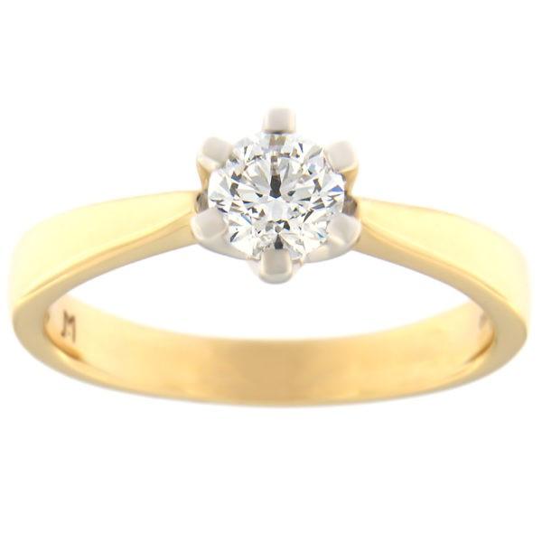 Kullast sõrmus teemantiga 0,50 ct. Kood: 87at