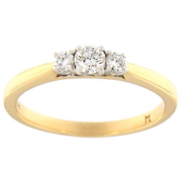 Kullast sõrmus teemantidega 0,26 ct. Kood: 88at