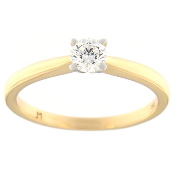 Kullast sõrmus teemantiga 0,38 ct. Kood: 90at