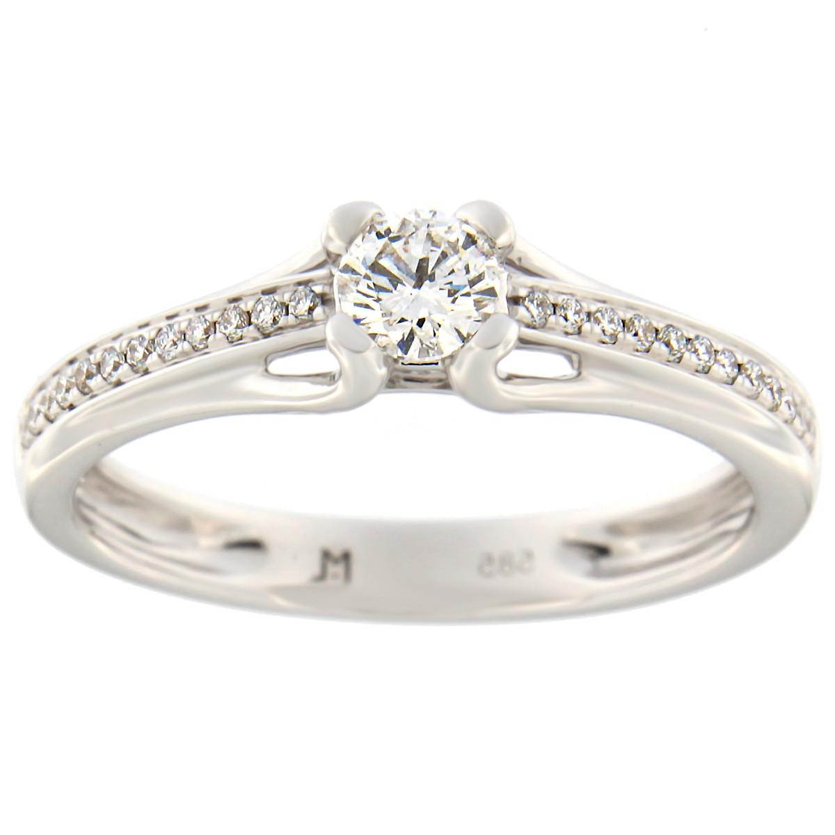 Kullast sõrmus teemantidega 0,32 ct. Kood: 92at