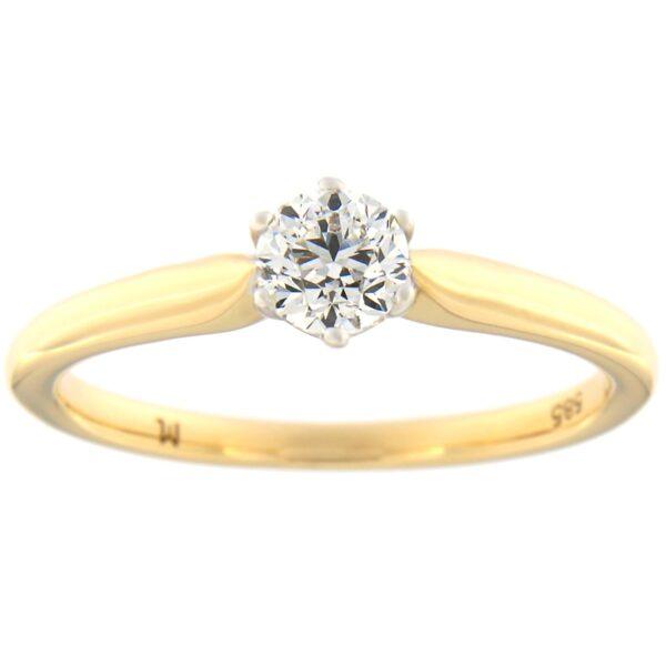 Kullast sõrmus teemantiga 0,38 ct. Kood: 96at