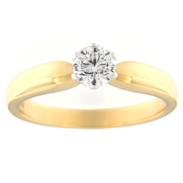 Kullast sõrmus teemantiga 0,41 ct. Kood: 96at-1