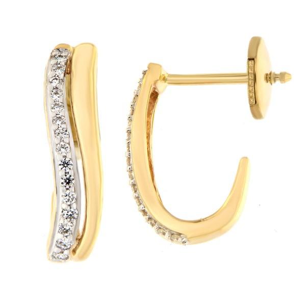 Kullast kõrvarõngad teemantidega 0,10 ct. Kood: 19at