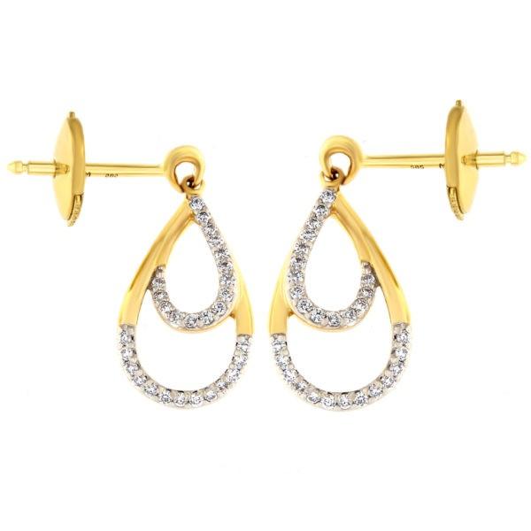 Kullast kõrvarõngad teemantidega 0,15 ct. Kood: 20at