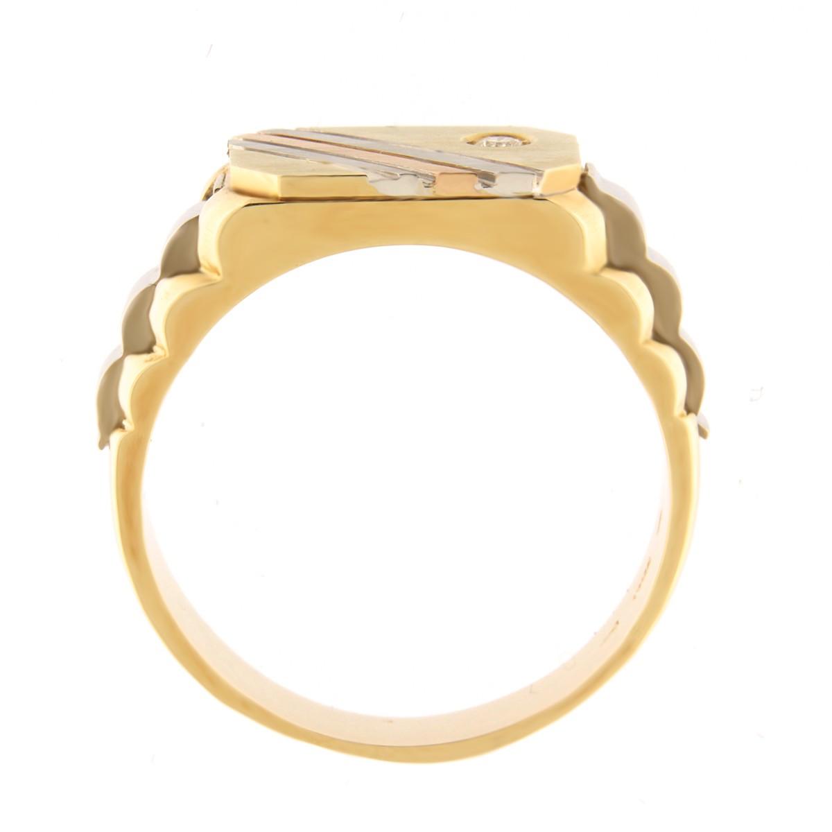 Kullast klotser teemantiga 0,05 ct. Kood: 295b küljevaade
