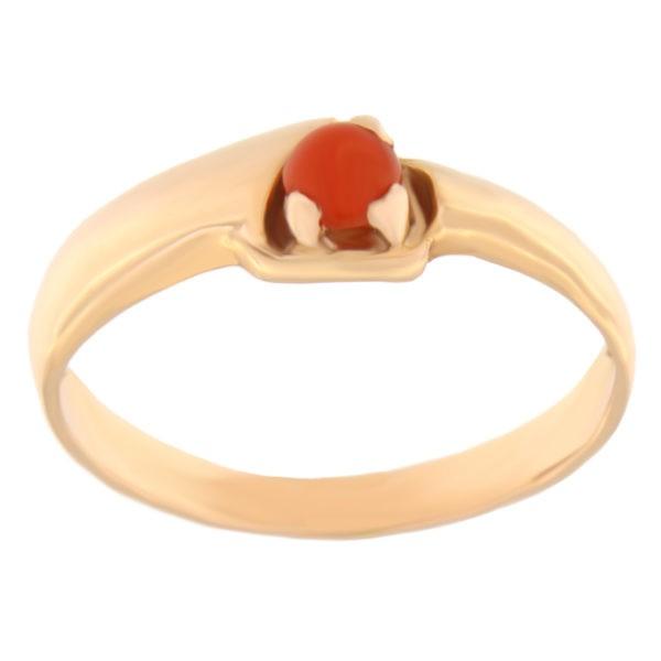 Kullast sõrmus koralliga Kood: 17pk