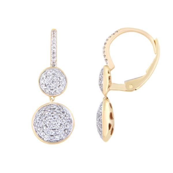 Kullast kõrvarõngad teemantitega 0,71ct kood: 26AT