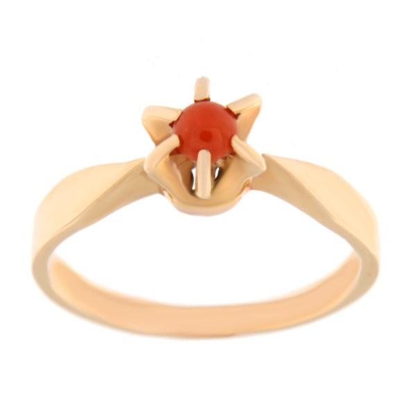 Kullast sõrmus punase koralliga Kood: 4pk, 111pk