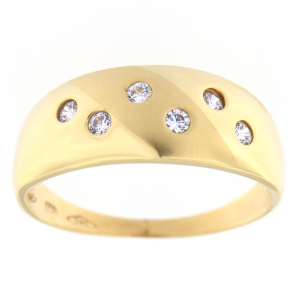 Kullast sõrmus tsirkoonidega Kood: 98pt