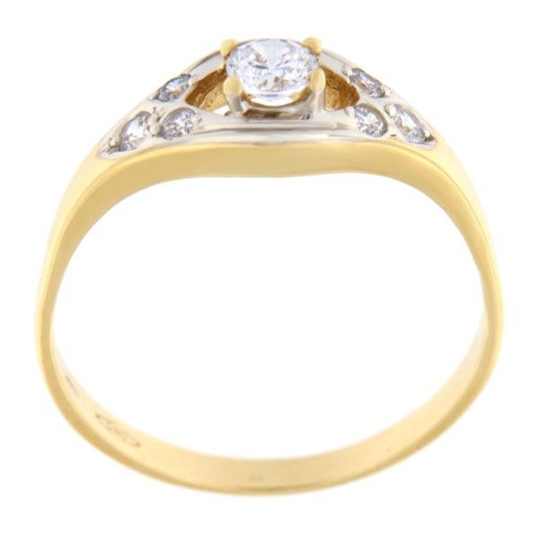 Kullast sõrmus tsirkoonidega Kood: 99pt, 733wp047