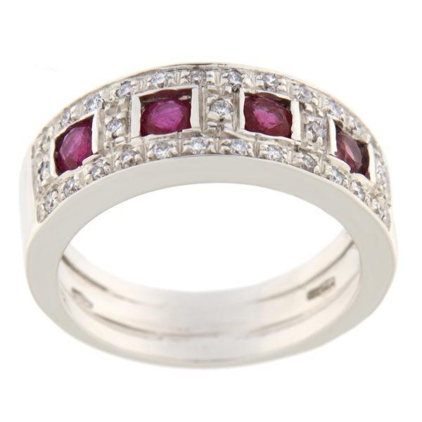 Kullast sõrmus rubiinide 0,80 ct. ja teemantidega 0,26 ct. Kood: bf35