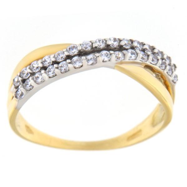 Kullast sõrmus tsirkoonidega Kood: 110929