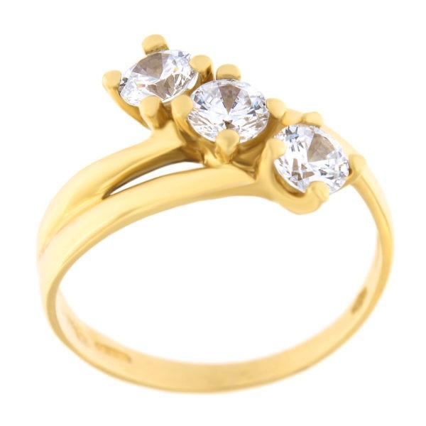 Kullast sõrmus tsirkoonidega Kood: 140284