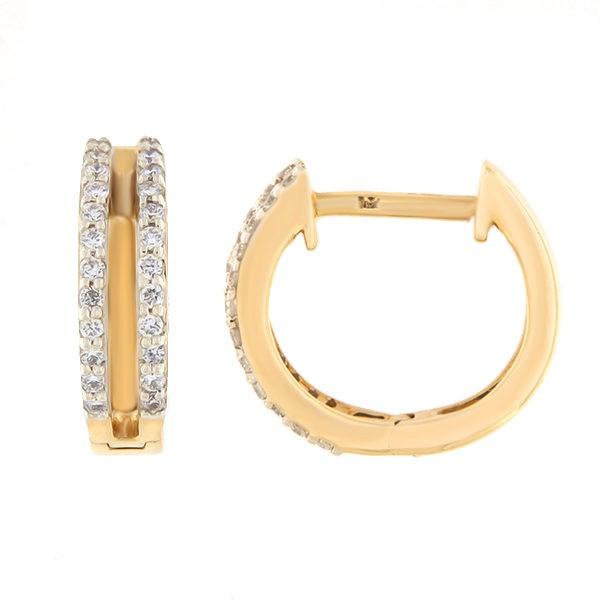 Kullast kõrvarõngad teemantidega 0,19 ct. Kood: 13an