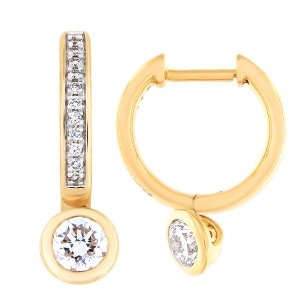 Kullast kõrvarõngad teemantidega 0,68 ct. Kood: 24at