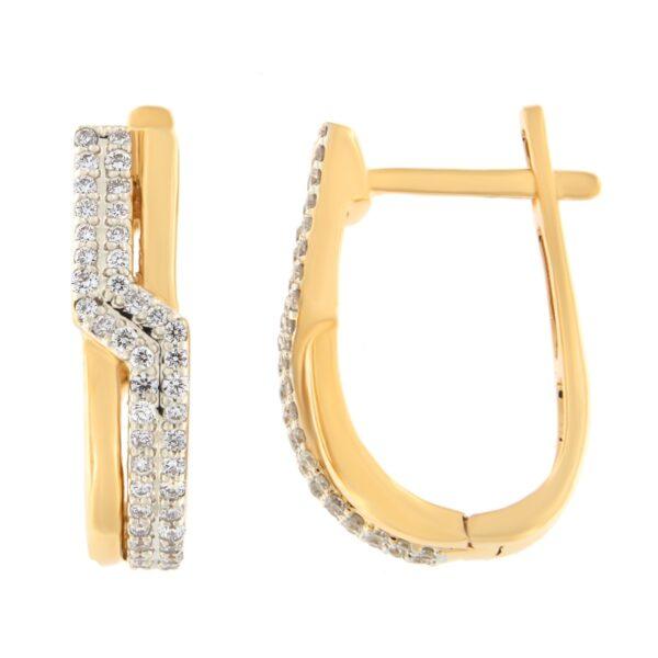 Kullast kõrvarõngad teemantidega 0,24 ct. Kood: 52ak
