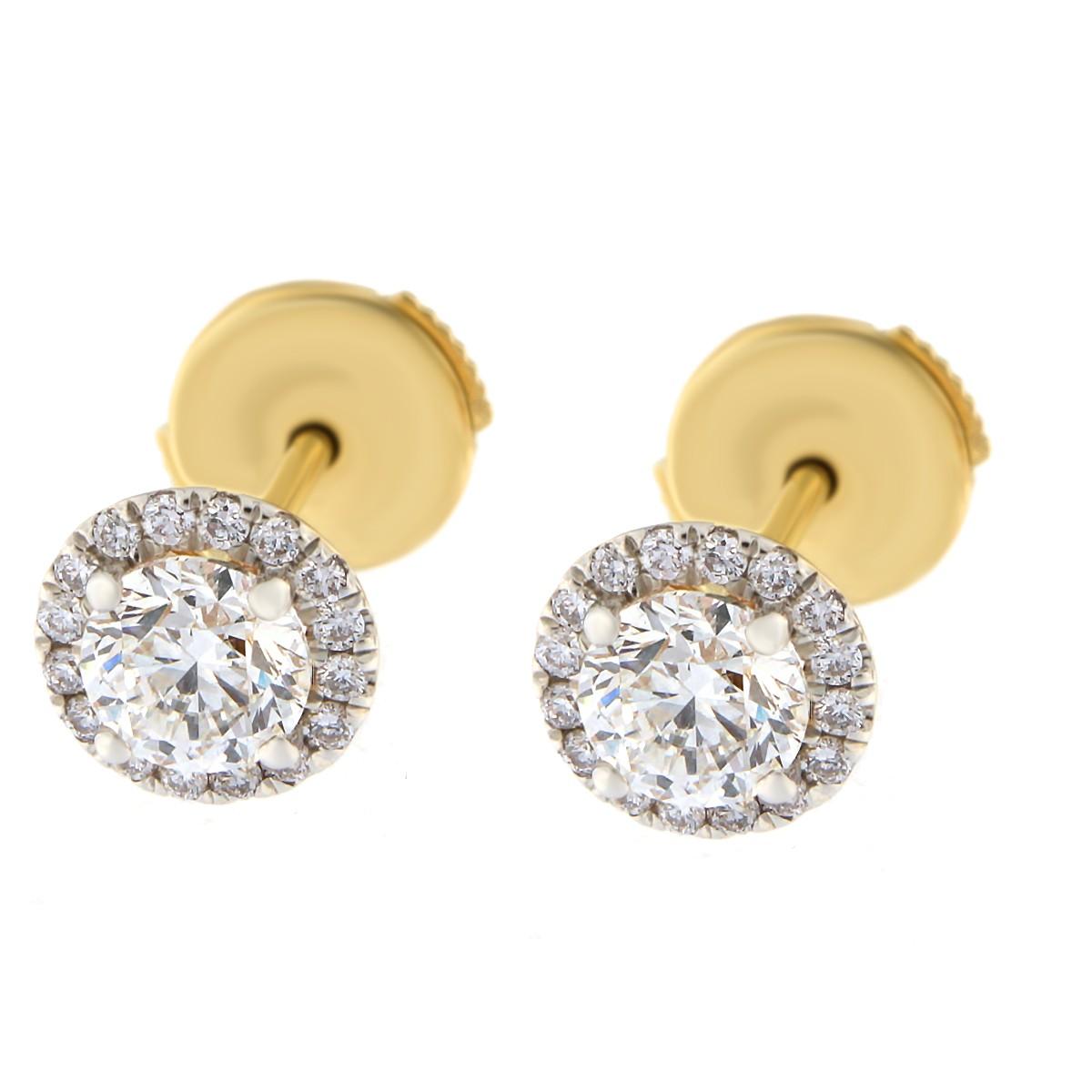 Kullast kõrvarõngad teemantidega 0,88 ct. Kood: 57ak