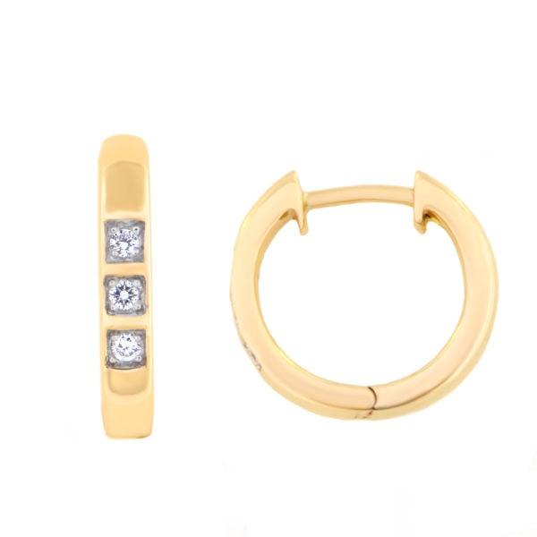 Kullast kõrvarõngad teemantidega 0,06 ct. Kood: 5at