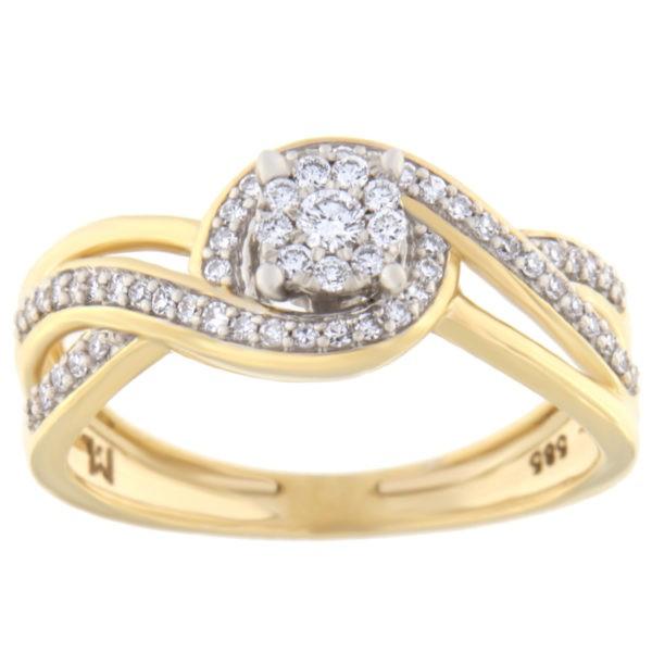 Kullast sõrmus teemantiga 0,25 ct. Kood: 39hc,101he