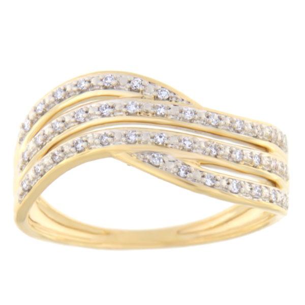Kullast sõrmus teemantiga 0,10 ct. Kood: 103he