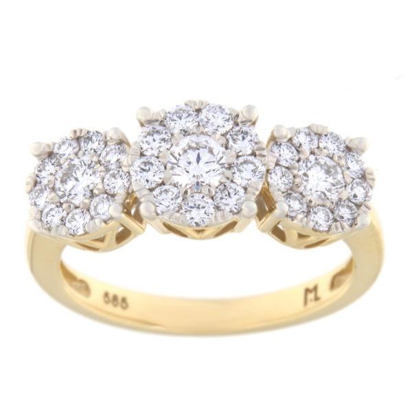 Kullast sõrmus teemantiga 0,89 ct. Kood: 107he