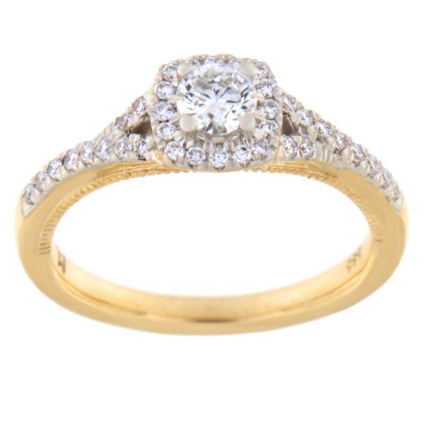 Kullast kihlasõrmus teemandiga 0,50 ct. Kood: 67he