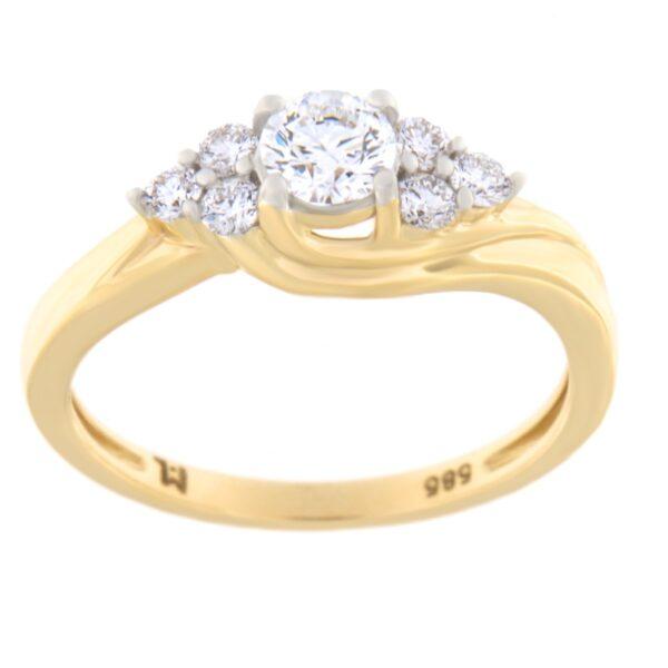 Kullast kihlasõrmus teemandiga 0,50 ct. Kood: 77he