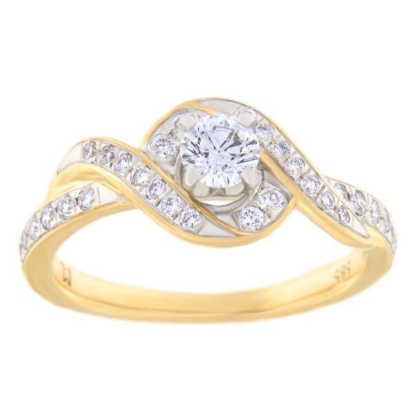 Kullast sõrmus teemantiga 0,50 ct. Kood: 78he