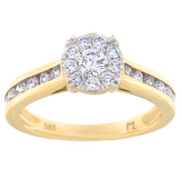 Kullast sõrmus teemantiga 0,75 ct. Kood: 17hc,79he