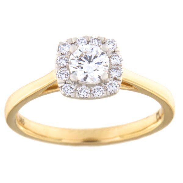 Kullast sõrmus teemantiga 0,50 ct. Kood: 80he
