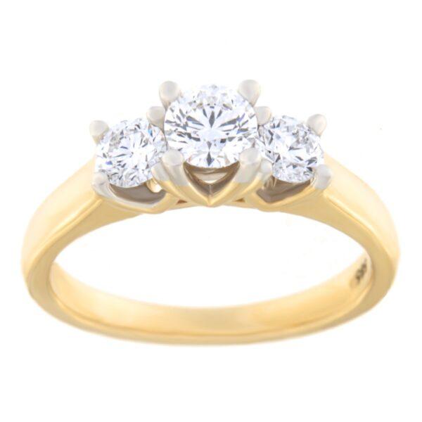 Kullast sõrmus teemantiga 0,75 ct. Kood: 81he