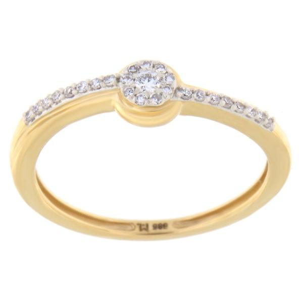 Kullast sõrmus teemantiga 0,10 ct. Kood: 89he