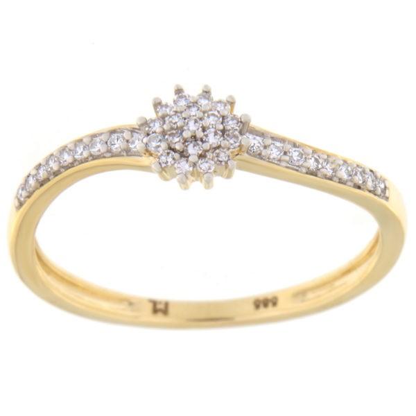 Kullast sõrmus teemantiga 0,12 ct. Kood: 31hc,91he