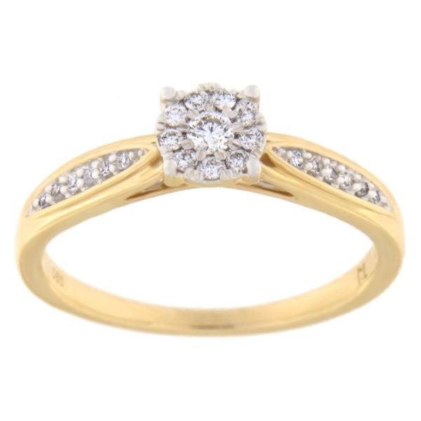 Kullast sõrmus teemantiga 0,15 ct. Kood: 34hc,94he