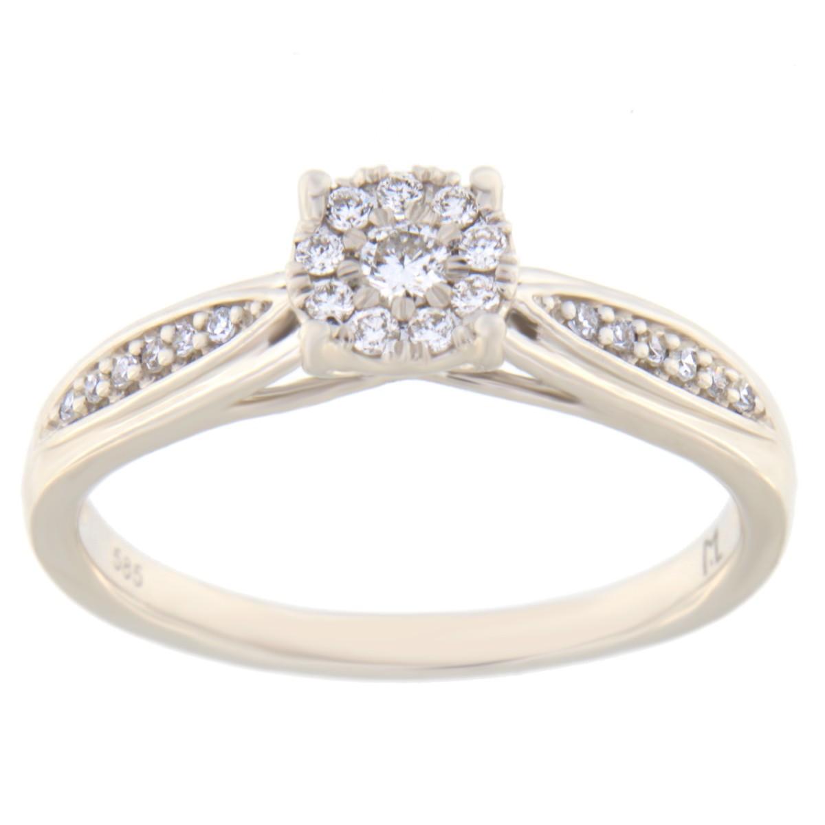 Kullast sõrmus teemantiga 0,15 ct. Kood: 35hc,95he