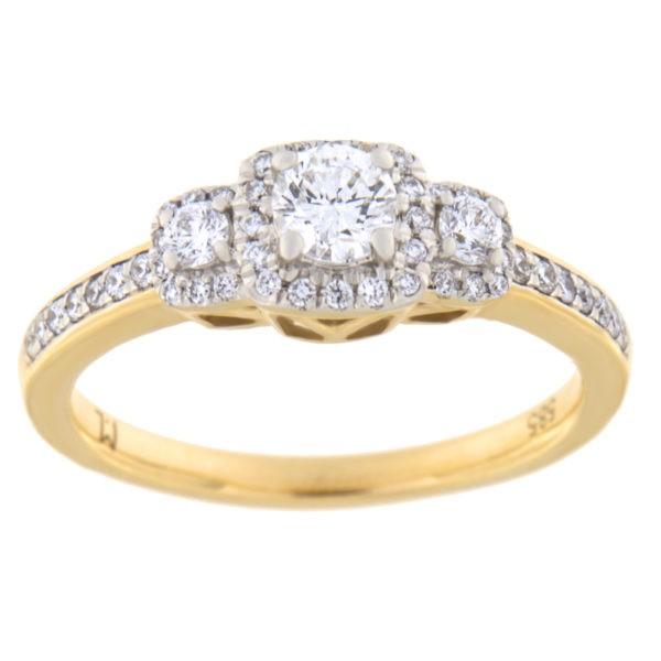 Kullast sõrmus teemantiga 0,50 ct. Kood: 36hc,98he